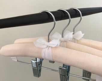 Padded Hangers, Baby Hangers w/Clips, Blush Linen Baby Hangers, Padded Bottom Hangers w/Clips, Baby Shower Gifts, Covered Baby Hanger Bottom