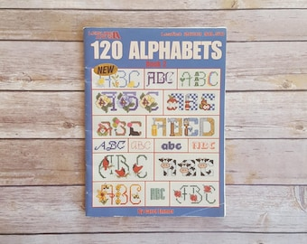 Cross Stitch 120 Alphabets Stitching Letter Designs Grandma Birthday Gift Idea Cross Stitching DIY Stitching Patterns Leisure Arts Book 2