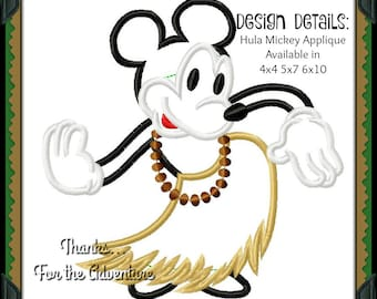 Aloha Mickey Mouse Hawaiian Hula Digital Embroidery Machine Applique Design File 4x4 5x7 6x10