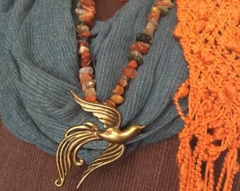 Bird Necklace Woodland Necklace Women's Long Necklace Boho Chic