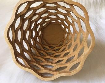 Layered Wooden Bowl Basket