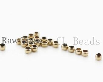 100 Pieces Raw Brass Crimp Beads-2mm (324C-I-10X)