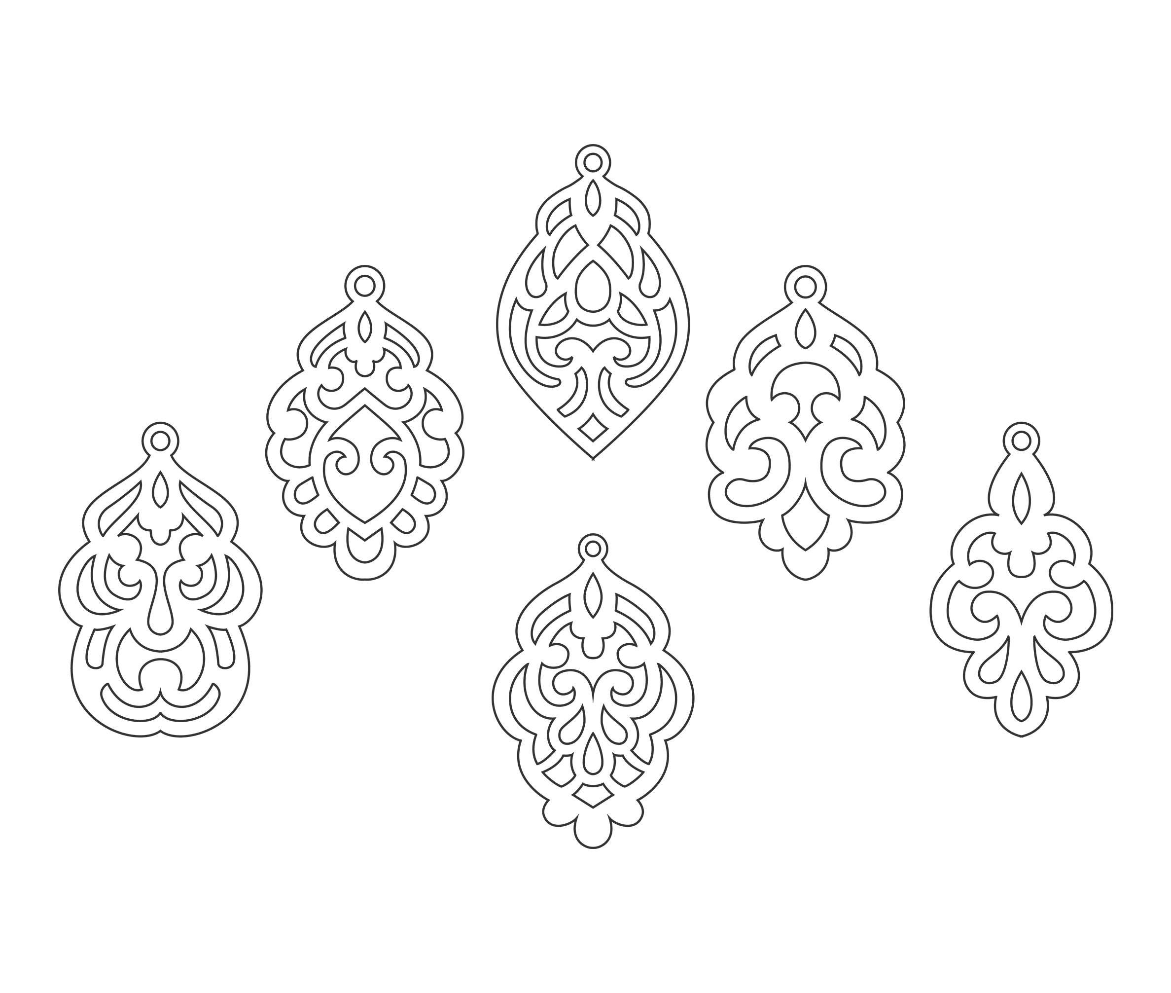 Set Ornamental Pendant templates, vector Cutting File