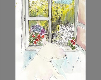 English Bull Terrier Giclée Print Dufy the Dog at the Window