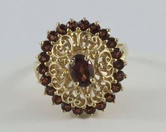 Vintage 10k gold red garnet ring, vintage garnet ring, red oval garnet, filigree and garnet 10k yellow gold garnet ring, size 7 3/4