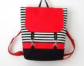 RED. Black stripe canvas backpack / Diaper bag / Diaper backpack / Laptop bag / School bag  with Front pockets, Design by BagyBags