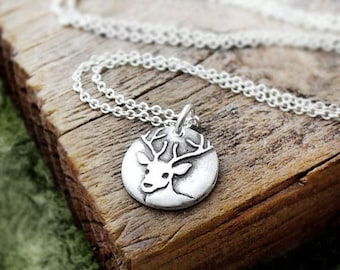 Tiny deer necklace, silver deer necklace, stag, buck