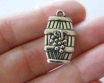 2 Wine Barrel pendants antique silver tone FD21 ...