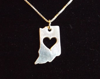 State of Indiana necklace, Indiana necklace, Indiana State charm, IN necklace, I heart Indiana necklace, Hoosier necklace, I'm a Hoosier