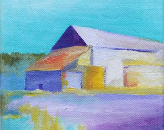 barn painting colorful purple and blue print of original oil painting