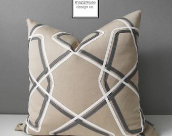 Geometric Sunbrella Pillow Cover, Modern Outdoor Pillow Cover, Decorative Grey & White Pillow Cover, Antique Beige Cushion Cover, Mazizmuse