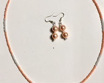 Peaches & Cream necklace/earring set
