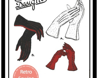 1940s Ladies Gloves Vintage Pattern - Paper  Sewing Pattern