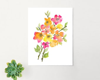 Original Abstract Watercolor Art Print - Floral 2