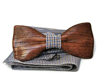 Mens wooden bow tie with pocket square