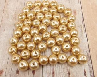 8mm Glass Pearls - Khaki - 50 pieces - Medium Beige - Medium Brown - Tan