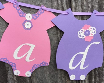 Pink and Purple Baby Shower Banner, It's a Girl Banner, Onesie Banner, Gender Reveal Banner