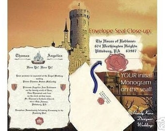 2wk exp - qty 50 Wedding invites birthday, sweet 16, anniversary, party, Invitations Cinderella Royal Renaissance Castle scroll Invitation