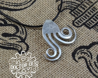 Double Spiral Fork Pendant - Handcrafted Silverware Jewelry Creations from Doctor Gus - Made from Forks - Steampunk Boho Goth Style Necklace