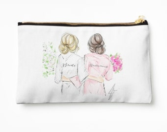 Bridal Gals Cosmetic Case (Bridesmaid Robes - Bridal Gift-  Champagne Blush Bridesmaid Dress - Wedding Supply - Bridal Shower)