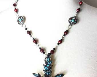 Indian Toke Turquoise Cannabis Necklace