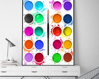 Bright Wall Art | Paints Print | Painting Wall Decor | Messy Paintbox Poster | Art illustration | Downloadable Art | Instant Art | Wall Art