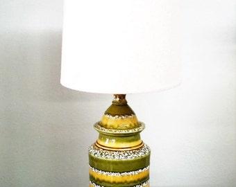 Mid Century Green Yellow Glazed Pottery Lamp MCM
