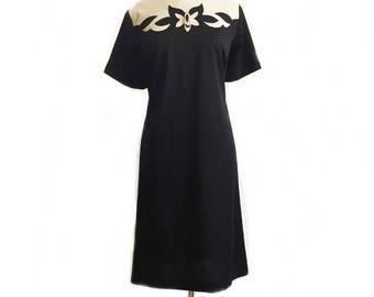 Vintage 60s shift dress/ black & white preppy dress/ abstract cutout appliqué/ Jule-Wyn/ mod dress/ Large