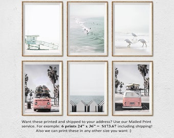 California Beach Art, Santa Monica Beach, Lifeguard Tower, Beach Set of 6, Retro Van, Surf Decor, Set of 6 Prints, Coastal Wall Art, Photo