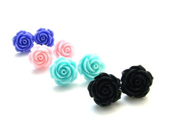 Rose Post Earrings - Available In Pink, Lavender, Aquamarine, Black -  Dime Sized Pastel Goth Feminine Girly Flower Floral Jewelry