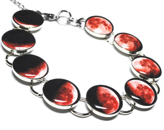 Red Moon Phase Bracelet, Blood Moon, Phases Of The Moon Bracelet, Resin, Handmade, Moon Bracelet, Space Jewelry, Solar System, Lunar
