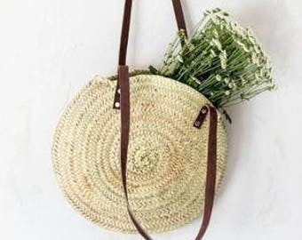 Round tote bag, Palm tree backpack, tote bag long leather handles, S, M, L, XL tote bag, round basket, summer shopping bag, tote straw.