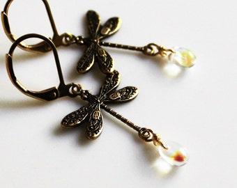 Oxidized Brass Dragonfly Earrings