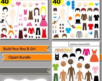 DIY paper dolls clipart / Build your boy and girl clip art bundle sale / kids clipart generator / digital download, commercial use