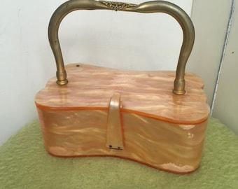 1950s Glam Lucite Box Bag Purse Vintage Marbled Peach Gold
