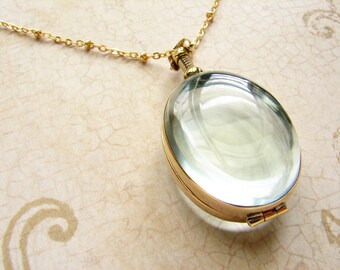 Oval beveled glass locket necklace, personalized oval heirloom custom glass locket necklace bridal wedding locket gift