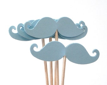 24 Baby Blue Mustache Party Picks, Cupcake Toppers, Food Picks, Toothpicks, Drink Picks - No675