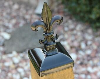 Fleur-de-lis Post Cap for 4x4 Wood Fence Post, Fleur-de-lis Wrought Iron Post Top
