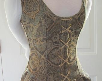 DDNJ Reversible Demi Corset w tabs Choose Fabrics Plus Custom Made ANY Size Renaissance Pirate Anime Wedding Medieval Kawaii Wench Costume