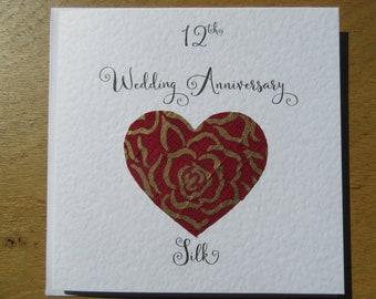 12th anniversary card -silk- twelve years marriage- twelfth wedding - wife - Husband