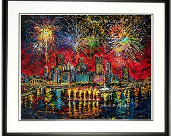 Fireworks wall art, 4th of July art,  Pittsburgh Skyline art, Pittsburgh wall art, Pittsburgh pride, man Cave art, by Johno Prascak