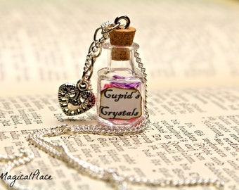 Valentine's Gift for Women,Cupid's Crystals Bottle Necklace,Love Necklace,Gift for Her,Mini Bottle Necklace,Glass Vial Necklace