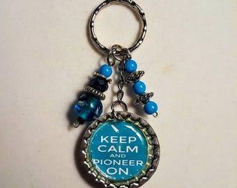 Teal keychain, Turquoise keychain, Keep Calm And Pioneer On Keychain, Bottlecap Keychain, keychain, beaded keychain, gift, keys, keyring