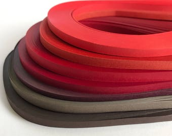 100 Solid Quilling Paper Strips (reds - browns)