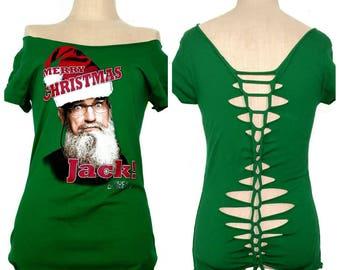 Shredded Duck Dynasty Christmas shirt - Uncle Si shirt - shredded Christmas tee- upcycled duck dynasty shirt - gift for her - Christmas gift