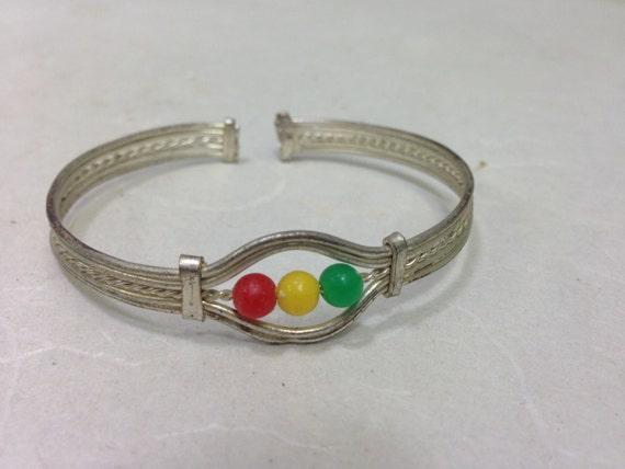 African Bracelets  Silver Small Beaded Cuff Handmade red Yellow Green Beads Fun Jewelry Bracelets