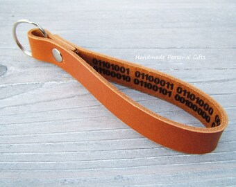 Keychain leather, bags pendant, binary code,with name, text, individualised, personally made