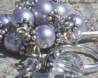 Lavender Pearl Rosary Bracelet,  Purple Swarovski Pearl, Unbreakable, Catholc, 1 Decade