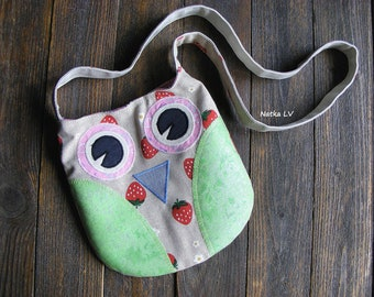 Owl girl's bag, kid's owl bag, children summer bag, toddler fabric bag, cross body bag, 3 - 6 years girl shoulder bag, handmade, pink green
