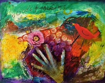 Magic happens, original art, mixed media art, canvas, hand, flower, bird, painting